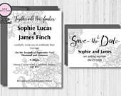 Lace Wedding Suite Printable Wedding Invitation Set DIY Custom Wedding Personalized Template Save the Date Card Hand lettering