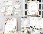 Blush Wedding Invitation suite Template Editable, Blush And Gold Wedding Stationery Sign Kit, Floral Full Wedding Bundle Printable, Templett