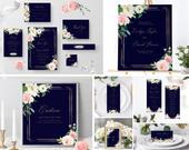 Blush Wedding Invitation suite Template Editable Navy Floral Wedding Bundle Boho Wedding Invite Set Diy Wedding Stationery Sign Kit Templett