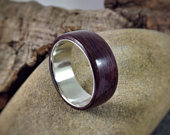 Wood Ring Purpleheart Wood Sterling Silver Made to order All US and UK Ring Sizes