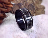 Wood Ring The Kraken Megalodon Tooth, Abalone Ebony Made to order All US and UK Ring Sizes