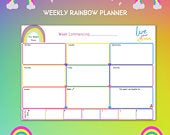 Rainbow Printable Planner Daily / Weekly / Monthly / Instant Digital Download / Rainbow Happy / Positivity