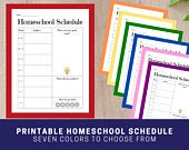 Colorful Homeschool Schedule for Kids Printable Daily Homeschool Planner for Pre K, Toddler, Grade School, Middle School Home Learning