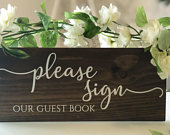 Wood wedding sign our guest book, rustic centre piece, wood table numbers, dark oak, light oak, wedding decor, wood signs, barn, please sign