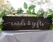 Wood wedding cards and gifts table sign, rustic centre piece, dark oak, light oak, forever in our hearts, wedding table decor, centrepiece