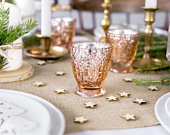 Rose Gold Glass Tea Light Holder, Christmas Candle Holder, Rustic Wedding Decorations, Candle Holders, Tealight Holders, Venue Decorations