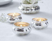 Silver Frosted Glass Tea Light Holder, Rustic Wedding Decorations, Candle Holders, Venue Decorations, Gold Wedding