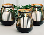 Wire Hanging Lantern Black and Gold Wedding Table Centrepiece Home decor Art Deco Geometric Tealight Holder Candle Holder