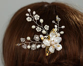 Freshwater Pearls Comb Swarovski Crystals Hair Comb Floral Wedding Hair Comb Bridal Hair Comb Flower Hair Comb, Bridal Hair Accessory