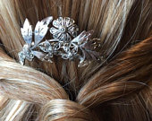 Bridal Hair Comb, Marcasite Floral Hair Piece, Vintage Bridal Accessory, Bridesmaid Flower Jewelry, Prom Hair Comb, Wedding Hair Accessories