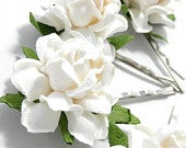 White Rose Floral Hair Clip Set/ Traditional/ Bridal/ Wedding Hair Accessories/ Bridesmaid Bobby Pin/ Wedding Flower Clips F014