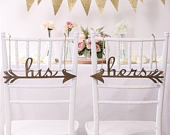 His and Hers Wedding Decor Gold or Silver Rustic Wedding Decoration His and Hers Calligraphy Wedding Chair