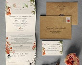 Once Upon a Time Concertina Wedding Invitations and Save the Date calendar. Rustic wedding invites featuring Fox, Deer Raven. Autumn, Fall