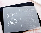 Vellum Save the Date Calendar Cards, Modern White Ink Wedding Invites Invitations printed Vellum / Translucent, FREE envelopes