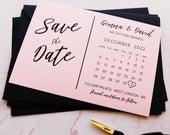 Calendar Save the Date Blush Pink Cards, Postcard Printed with Black Ink, Modern Wedding Invites Invitations FREE envelopes