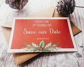 45 Christmas Holly Save the Date Card Printed Postcard Clearance