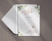 Elegant, Floral Save the Date, Calendar, Roses, Watercolour, Eucalyptus, Calligraphy, Printed Card, Wedding Save the Date