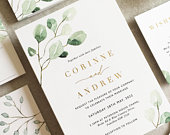 Corinne Greenery Flat Wedding Invitation Set Elegant Wedding Invite Rustic Wedding Invitation Eucalyptus Gold Wedding Invitations