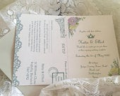 Floral and lace princess Wedding invitation