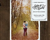 Personalised Vintage Photo Postcard Wedding Save the Date or Save the Evening.