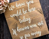 We know you would be here today Memorial sign for wedding Memory table sign Rustic wedding sign Heaven sign