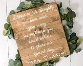 Forever In Our Thoughts Wooden Memorial Sign For Wedding