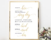 Gold In Loving Memory, Printable Wedding Memorial Table Sign, Those We love Dont Go Away, Editable Text, 8x10 0035