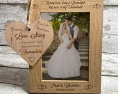 Personalised Wedding Photo Frame Wooden Plaque Gift Newlyweds Keepsake Mr Mrs Personalized Gift for Anniversary Engagment Proposal