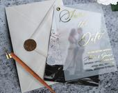 Vellum Save the Date , Foiled Save the Dates, Save the date photo Wedding save the date. Rose gold foil