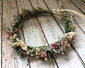 Dried Flower Crown in pinks with Thistles. Wedding Hair Piece, Floral garland for Bride, Bridal, Bridesmaid, Flowergirl, Halo, Circlet