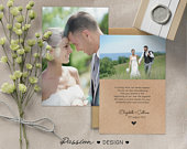 Double sided Wedding Thank You Cards With Photo Personalised Photo Postcard with envelopes