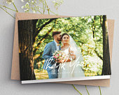 Folded Thank You Cards, Wedding Thank You Card With Photo, Folded Thank You Photo Card, Personalised Thank You Cards, Simple Thank You, 093