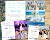 10 Love Laughter Happily Ever After Wedding Thank You Cards Personalised Mr and Mr With Printed Photos Mr Mrs Folded Postcards Mrs and Mrs
