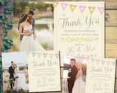 10 Vintage Bunting Shabby Chic Wedding Thank You Cards Personalised Mr and Mr With Printed Photos Mr Mrs Folded Flat Postcards Mrs and Mrs