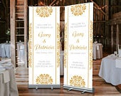 FREE POSTAGE, Custom Wedding Banner, Gift for Bride, Wedding Roller Banner Wedding Roll Up Stand, Wedding Welcome Sign, Personalised Wedding