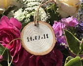 Handmade personalised mini log slice with the date (includes UK postage)