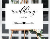 Arrow, Wedding this way white poster/sign A3/A2/A1 Unframed FREE POSTAGE/easel NOT included