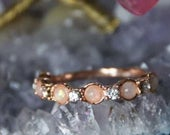 Womens Rose Gold Opal Ring, White Opal Rose Gold Ring Bridal Bridesmaid Jewelry Round Rose Gold Ring Engagement Wedding Gift For Her Band