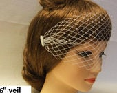 Birdcage veil Bandeau Style Blusher veil. 6 Bridal birdcage veil,2 side mini comb French/Russian net White,Ivory Veil.Hair acessory