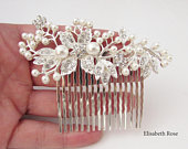 Decorative Silver Wedding Hair Comb, Crystal and Pearl Hair Comb for Wedding, Silver Bridal Hair Comb, Wedding Day Hair Comb, Hair Jewelry