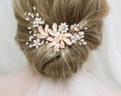 Freshwater Pearl Bridal Hair Comb, Wedding Hair piece, Leaf Hair Vine, Bridal Headpiece, Wedding Hair Accessory, Floral Back Headpiece, UK