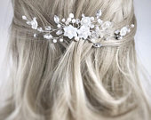 Bridal hair comb, bridal hair accessories, floral comb, freshwater pearl, flower comb, wedding comb, hair accessories, pearl hair comb