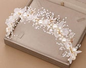 Bridal Flower Faux Pearl Crystal Handwoven Golden Leaves Wedding Headband Hair Band Childrens Hair Accessories