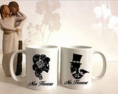 Personalised couples mugs, wedding gift, anniversary gift, engagement gift, Mr and Mrs, Mr and Mr, Mrs and Mrs, Wedding, quirky, skulls