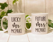 Engagement Mugs, Engagement Announcement Mugs, Personalised Couple Mugs, Lucky Mr and Future Mrs Mugs, Personalised Engagement Gift