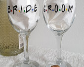 Bride and Groom pair of wine glasses FRIENDS TV show inspired set of two Mr Mrs glass gift set. Retro funny Wedding engagement gift