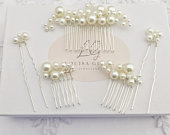 Bridal Pearl Three Small Hair Combs Two Pin Set Silver Gift Boxed Wedding Accessory Bride Prom Bridesmaid Hairpiece Gift Boxed Vine Tiara