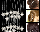 10pcs Swarovski Crystals Silver Plated Flower Design White Pearl Hair Pins Clips for Wedding Bridal Hairstyle