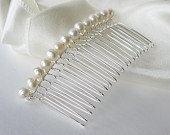 freshwater ivory round pearl silver hair comb pin for wedding or prom