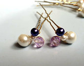Beautiful bridesmaids brides or evening wear hair pins, purple or pink with ivory glass pearls.